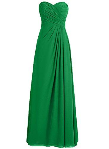 HWAN Frauen Aline Schatz faltete langen Kleid Brautjungfer Abendkleid (Abende Alex Chiffon)