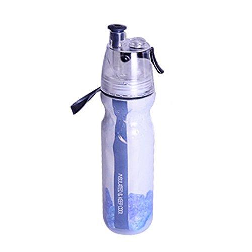 UxradG Deportes de Agua de Botella de 500ML, doppelschichtiges fiable ecológico Reutilizable portátil plástico de Deportes eignungs Tipos de Botellas de Caldera, Negro