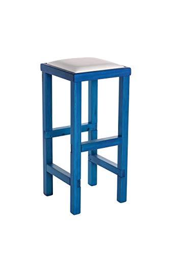 SGABELLO ALTO, in LEGNO massello Blu e Bianco - per CUCINA, BAR, PUB