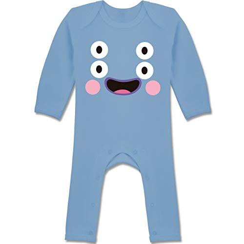 Shirtracer Karneval und Fasching Baby - Monster Kostüm Karneval - 12-18 Monate - Babyblau - BZ13 - Baby-Body Langarm für Jungen und Mädchen