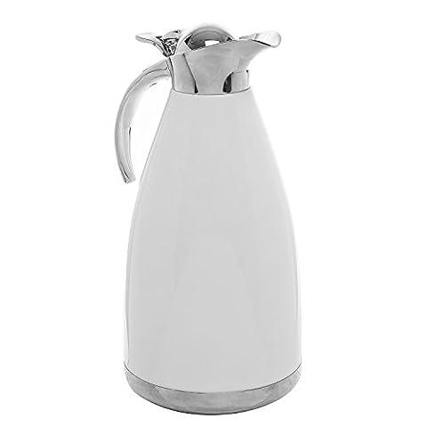 2.0L Blanc en acier inoxydable double paroi Isolation sous vide thermique Carafe à thé/café chaud et à servir Pichet