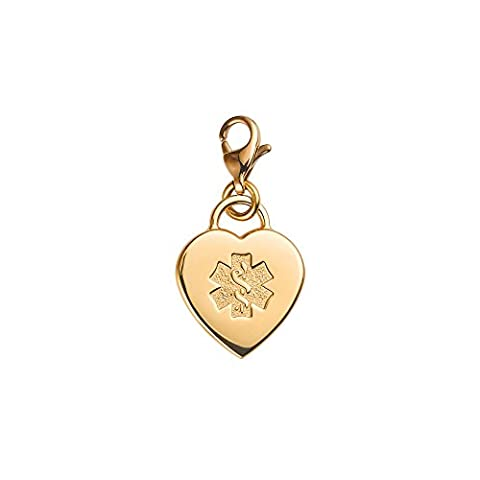 Divoti Custom Engraved Adorable Heart PVD 316L Medical Alert Charm w/ Lobster Clasp-Gold