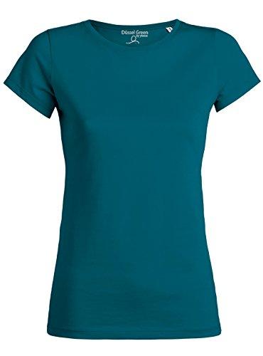 100 Baumwolle Damen T-shirt (Amy Damen Basic T-Shirt Aus 100% Bio-Baumwolle mit Rundhalsausschnitt und taillierte Passform, Bio Kurzarmshirt, Organic Cotton (XL, Ocean Depth))