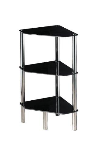 Premier Housewares Eckregal, 3-stöckig, Ablagen aus schwarzem Glas, Chrom-Rahmen, 77 x 34 x 34 cm -