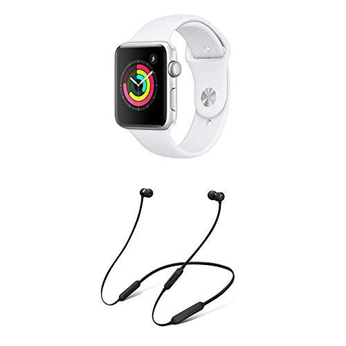 AppleWatch Series3 (GPS) con Cassa 42mm inAlluminio Colore Argento eCinturino Sport Bianco + BeatsX Auricolari - Nero