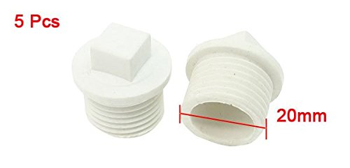 "5 Pcs 1/2""PT Male Thread Square Caps Pipe Fittings Plug White"