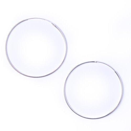 81stgeneration paio di orecchini in argento 925, tondo 1 mm cerchio 60 mm