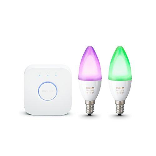 Philips Hue Kit de démarrage 2 ampoules White & Color E14  + pont de connexion - Fonctionne avec Alexa
