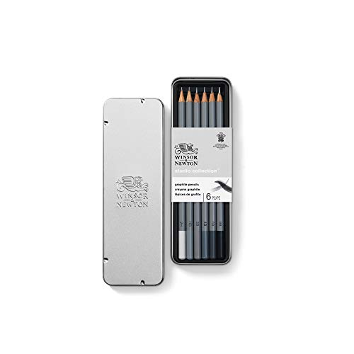 Winsor & Newton 490006 präzisions  Bleistifte - Graphic , 6  Skizzierstifte in der Metallbox sortiert, 2H, HB, 2B, 4B, 6B, 8B - 2b 4b 6b Hb Bleistift-set