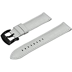 Crocodile Grain Padded Italian Calfskin Leather Watch Band With Polished Black Buckle