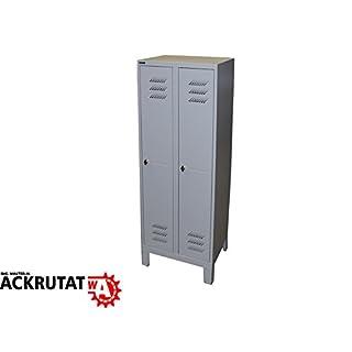 Stahlspind grau H 1850 mm Umkleidespind 2 Abteile Spind Umkleideschrank
