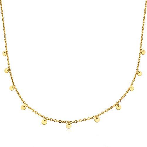 GD GOOD.designs EST. 2015 ® Damen 5 Coinkette - Edelstahl Halskette mit fünf runde Plättchen (Kette 40 +5 cm) (11 Coins - Gold)