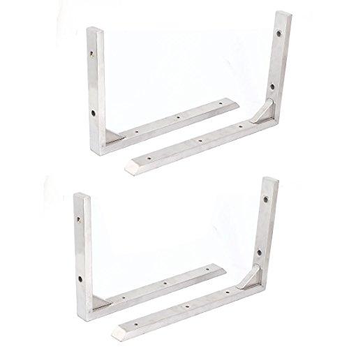 Weißes Regal-unterstützung (4Stk 30cmx19.5cm Edelstahl LForm Wand Regal Unterstützung Recht spitzen Klammern de)