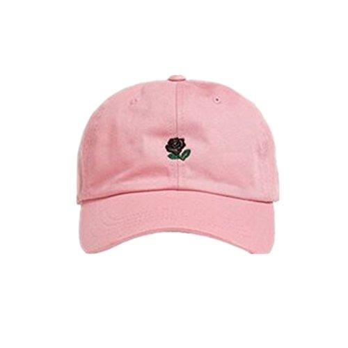 Loveso Hat Unisex Damen Herren Kappen Adult Fashion Rose Stickerei Cotton Baseball Mütze Sun Casp (aAround 56-61 cm, Rosa A) Fashion Unisex Schal