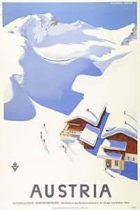 Vintage AUSTRIA Skiing//Travel Art Deco Design Poster   A1,A2,A3,A4 Sizes