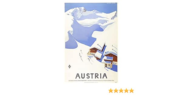 Vintage AUSTRIA Skiing/Travel Poster - Poster Size : Super A1