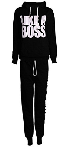 Islander Fashions -  Tuta da ginnastica  - Donna Like A Boss Black