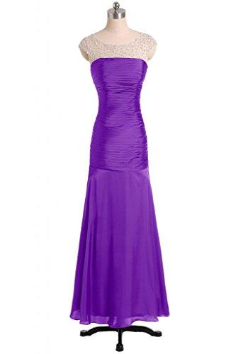 Sunvary sheer scollatura donne Prom abiti da sera Mermaid pieghe volant Lilac