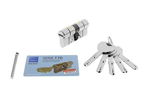 Tesa Assa Abloy Cilindro de Alta Seguridad, Llave - Leva Larga, Niquelado, 30 x 40 mm