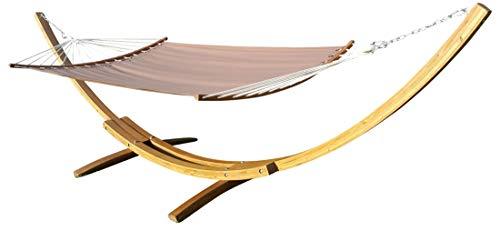 415cm hamac de luxe XXL cadre PANAMA-BROWN-BENT mélèze en bois brun café avec hamac ergonomique de AS-S