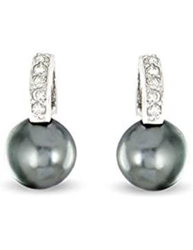Tous mes bijoux Damen-Ohrstecker Sterling-Silber 925 1g Zirkonia Tahitiperle Grau BOMB01037