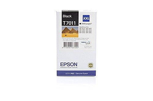 Preisvergleich Produktbild Original Tinte passend für Epson WorkForce Pro WP-4595 DNF Blauer Engel Epson T7011 , T70114010 C13T70114010 , T701140 - Premium Drucker-Patrone - Schwarz - 3.400 Seiten - 63,2 ml