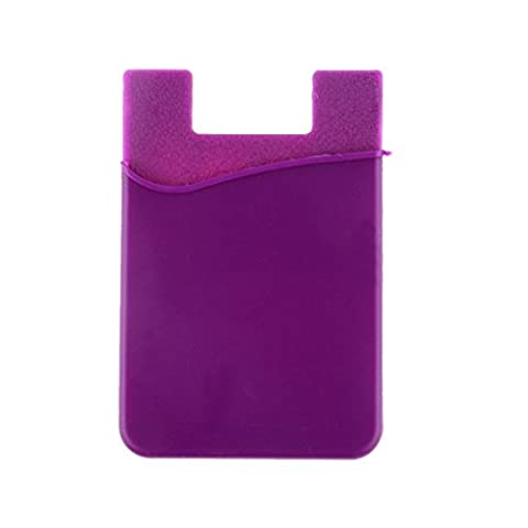 Silicone Wallet ID Credit Card Case Holder Adhésif Pour Smart Phone - Violet