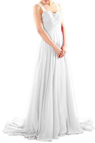 MACloth Women Lace Straps Ruched Chiffon Long Prom Dress Evening Formal Gown Elfenbein