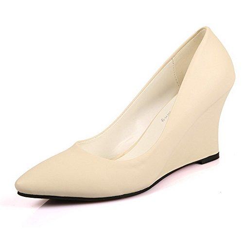 AalarDom Femme Tire Pointu à Talon Haut Pu Cuir Couleur Unie Chaussures Légeres Abricot