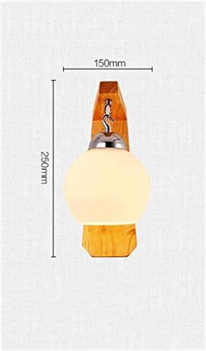 ChuanHan Lampe de Chevet Mur Chambre Couloir Salon Simple Simple en Bois Massif Verre LED Lampes Creative Warm Wall Lamp, 15 * 25 * 16cm, Blanc