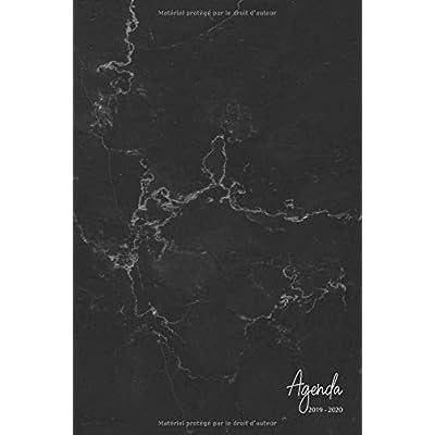 Agenda 2019-2020: Agenda Scolaire de Juillet 2019 à Juillet 2020, Semainier simple & graphique, série marbre, motif marbre noir