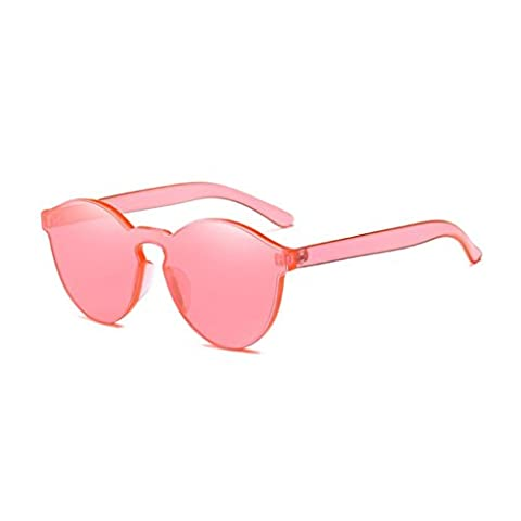 Toamen Women Fashion Candy Colored Cat Eye Shades Sunglasses Integrated UV Glasses (Watermelon Red)