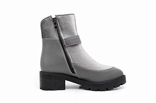 Mee Shoes Damen chunky heels Plateau warm füttert Reißverschluss Stiefel Grau
