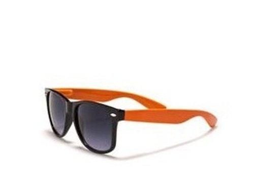 4sold Sonnenbrille mit Rauchglas, 1980er-Retro-Stil, unisex, voller UV400-Schutz, Orange, Schwarz, S