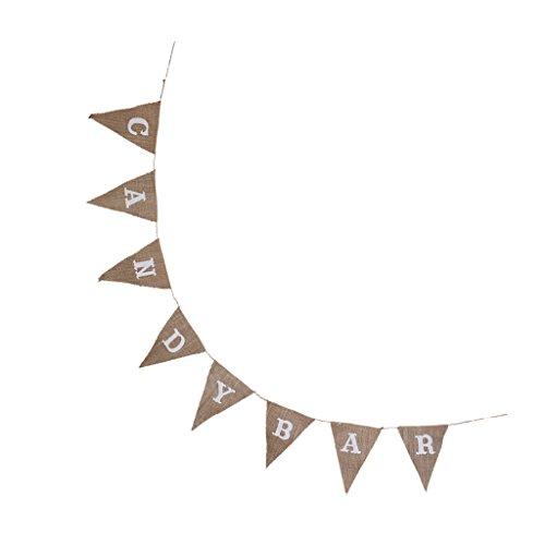 Sharplace Leinen Wimpel Girlande Banner Bunting Wimpelkette Wimpeln Candy Bar für Hochzeit Geburtstag Party Dekoration (Bar Für Candy Baby-dusche)