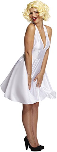 (Adult Ladies Sexy White Film Star, Marilyn Monroe Style Fancy Dress Costume. One Size Costume But Usually Fits Sizes 8, 10, 12 And 14. Perfect for any Movie Themed Fancy Dress Event.)