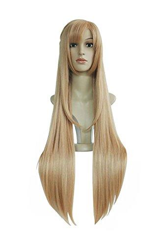 BBBCAC Cosplay lange blonde gerade Perücken-Karneval Party Halloween-Kostüm mit freien Kappe für Frauen