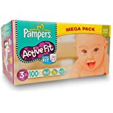 Pampers - Couches ACTIVE FIT - Mégapack T3 Mini 4-9Kg - 100 couches