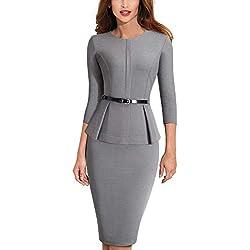HOMEYEE Negocio Vestido de Mujer Cuello Redondo Peplo Cinturón B473 (EU 40 = Size L, Gris)