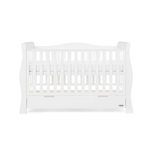 Obaby Stamford Sleigh Luxe Cot Bed - White Obaby Adjustable 3 position mattress height Bed ends split to transforms into toddler bed Includes matching under drawer for storage 5