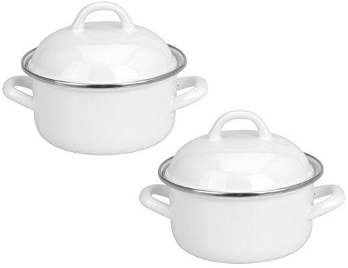 White Enamel 500ml Mini Individual Serving Pot Saucepan Pan with Lid (Set of 2)