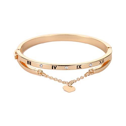 Yivise Women Elegant Bracelet Charm Crystal Rhinestone Heart Love Anniversary Valentine's Day Bracelets Jewelry Gifts