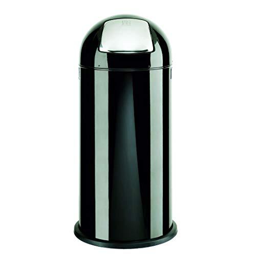 Abfallsammler/Push Abfalleimer DR-Büro 1660 - feuerverzinkter Einsatz für 52 l - Maße (H/Durchmesser) 84x37 cm - verchromte Push Klappe, Farbe Büromöbel:Alco schwarz 11