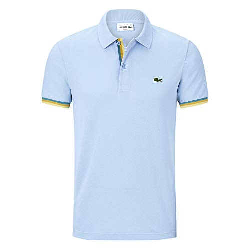 Lacoste PH4220 Herren Polo Shirt Kurzarm,Männer Polo-Hemd,2 Knopf,Regular Fit,Creek(G5J),Medium (4) - Vier-knopf-kurzarm-polo-shirt