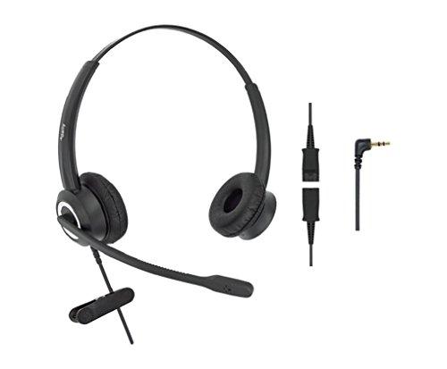 DailyHeadset 2 5 mm Jack HD Voice Corded Office Telephone Headset  Headphones Cordless Phones DECT IP Landline Cisco SPA Polycom at&T  (Binaural)
