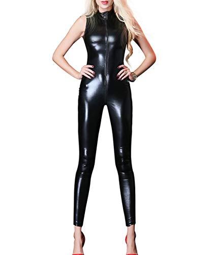 Panegy Damen Hosenanzug Ärmellos Overall Slim Fit Catsuit aus Lackleder Schwarz Größe XXL