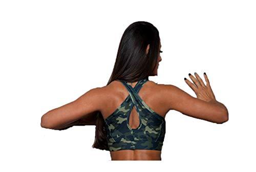 Excess Sujetador Deportivo para Mujer Shock Absorber Top Push Up Fitness Yoga Pilates Running Gimnasio Maillot de Ciclismo 3D de Fiesta Mujer Sexy Italiano Camisetas Dim Camouflage L