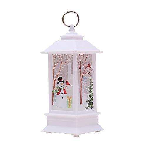 Lanterna di natale vintage a led, teepao decorativo decorazione del castello di natale a forma di fiocco di neve lampada a forma di castello di natale (pupazzo di neve)