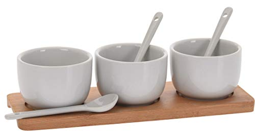 7-teiliges Keramik Servier-Set Sauce Dip Marmelade Schale & Löffel mit Bambus Tablett -