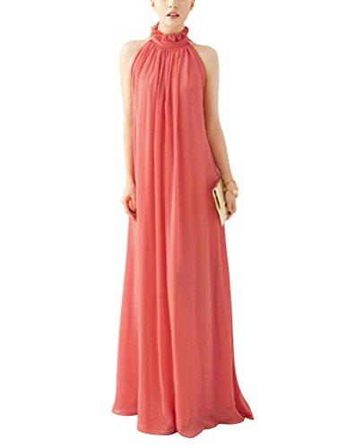 Brinny Bohême Maxi Longue Robe de Soirée Cocktail Mariage Plage Style Halter Epaules Nues en mousseline de soie 9 Couleur Rouge Clair